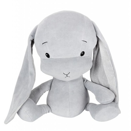 Personalized Bunny Effik L -Gray + dots by Małgosia Socha 50 cm