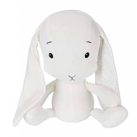 Personalized Bunny Effik L -White + dots by Małgosia Socha 50 cm