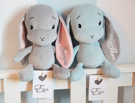 Personalized Bunny Effik M - Gray with Pink ears 35 cm
