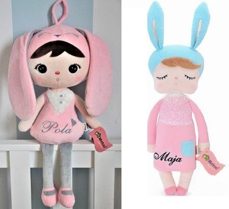 Personalized Set of Dolls -  Bunny Girl and Bunny in Pink Dress