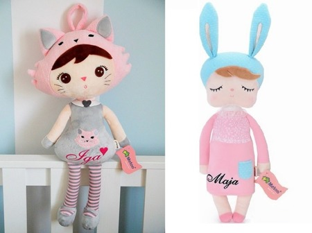 Personalized Set of Dolls -  Cat Girl and Bunny in Pink Dress