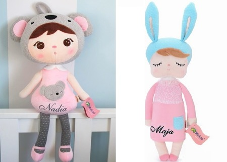 Personalized Set of Dolls -  Koala Girl and Bunny in Pink Dress